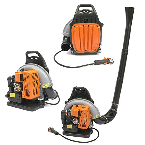 Fetcoi 65cc Rückentragbar Laubbläser 6800rpm 2,7kW 2-Takt Benzin Variable Drehzahl Rückenbläser für die Reinigung Laub Müll Staub im Garten, Orange