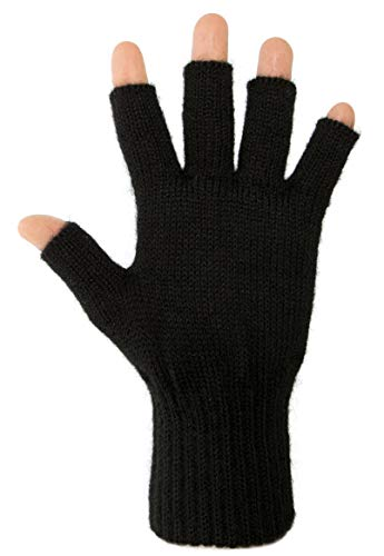 DARN WARM Alpaca FINGERLESS Gloves - BEST NATURAL SOLUTION for COLD HANDS - (Black - 90% Alpaca, Medium)