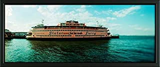 Easy Art Prints Panoramic Images's 'Ferry in a River, Staten Island Ferry, Staten Island, New York City, New York State, USA' Premium Framed Canvas Art - 24