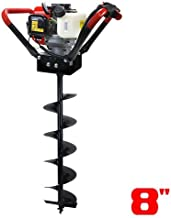 XtremepowerUS 1-Person Post Hole Digger Auger V-Type 55CC 2 Stroke Recoil Start Digger Powerhead+ 8