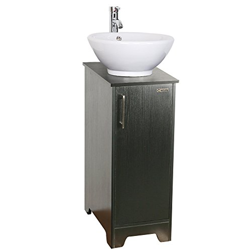 13 inch Modern Bathroom Vanity Units Cabinet And 16 inch Sink Stand Pedestal with Round White Ceramic Vessel Sink with Chrome Bathroom Solid Brass Faucet and Pop Up Drain Combo Bath Sink Pedestal Foot