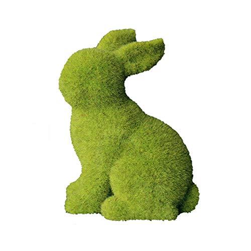 Hase Kaninchen Figur Statue Miniature Moos Hund Modell Skulptur Dekofigur Styropor Form Tierfigur für Balkon Fee Garten Ornament Neujahr Geburtstag Ostern Party Tischdekoration 2PCS