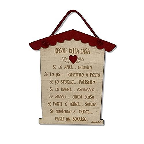Dacl'Art Targa in Legno Regole della casa tg-22 Made in Italy