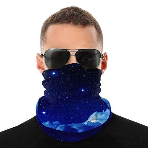 OUY Galaxy Blue Starry Sky transpirable protector de cuello protector de pierna máscara facial bufanda turbante pasamontañas sombrero bufanda hombres y mujeres máscara facial