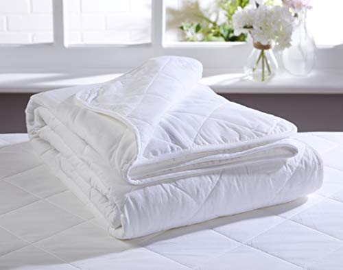 100% Cotton SUMMER LIGHTWEIGHT Duvet *COTTON FILL* & Cotton Case | All Natural Anti-Allergy | Quilted & Hotel Quality Bound Edging | Perfect for a Cool Night's Sleep | SUPER KING 260cm x 220cm