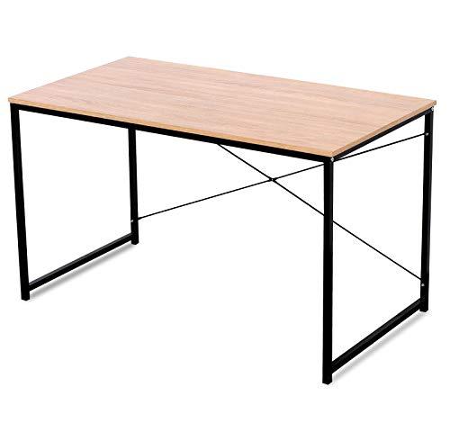 WOLTU TSB04hei Bureau d'Ordinateur Table de Bureau en aggloméré et Acier 120x60x70cm, 10,62 kg, Chêne Clair+Noir