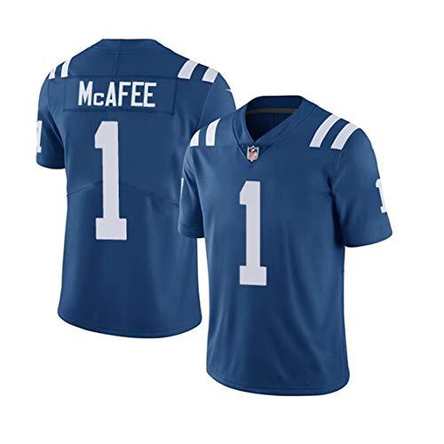 Pat McAfee # 1 Indianapolis Colts Herren Rugby Jersey Fußballtrikot, Stickerei Kurzarm Sport Unisex Fans Trikots Atmungsaktives T-Shirt Wiederholbare Reinigung-blue-2XL(190cm~