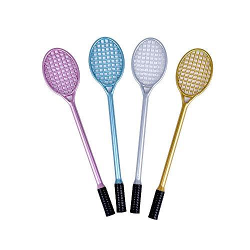 U/K Pulabo - 4 bolígrafos de tinta de gel con forma de raqueta de tenis, bolígrafo de gel de 0,5 mm, ideal como regalo para estudiantes, elegante y práctico
