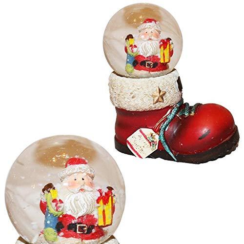 Widdop Gifts Weihnachtsmann in einer Schneekugel auf einem Stiefel