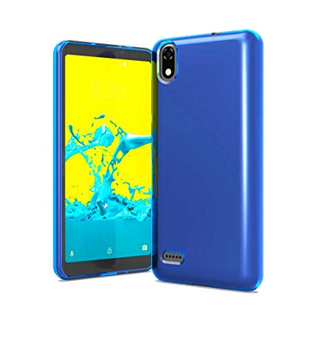 Tempered Glass + TPU Flexible Skin Protective Case Phone Cover for ZTE Avid 559 + Gift Stand (Blue)