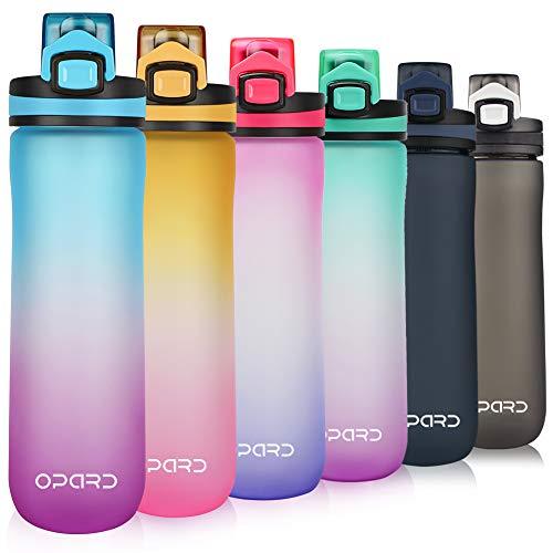 Opard Trinkflasche Sport 600ml - Wasserflasche aus Tritan BPA-Frei, auslaufsichere Sportflasche, Kunststoff Water Bottle mit Sieb - Mit 1 klick öffnen - für Kinder, Schule, Fahrrad