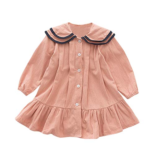 Gyratedream lente herfst casual mode baby meisjes effen lange mouwen hemd jurk kinderkleding blousejurk 3XL roze