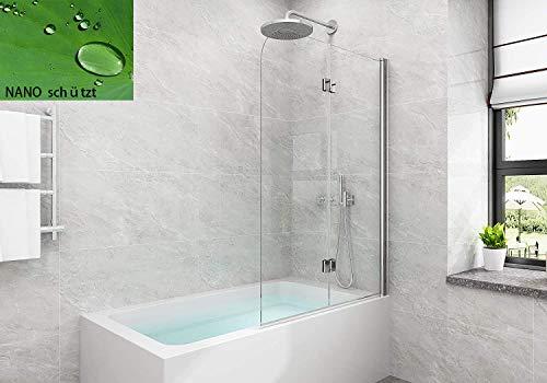 5 mm Badewannen Duschabtrennung Sicherheitsglas hell,Duschwand Duschabtrennung Nano Glas (120x140cm[BxH])