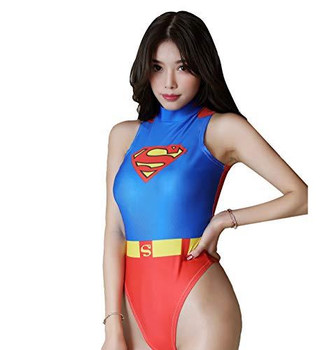 JasmyGirls Damen Einteiliger Badeanzug mit hoher Taille Superheld Anime Dessous Cosplay Kostüm Party High Neck Tight Bodysuit Top (Super Man)