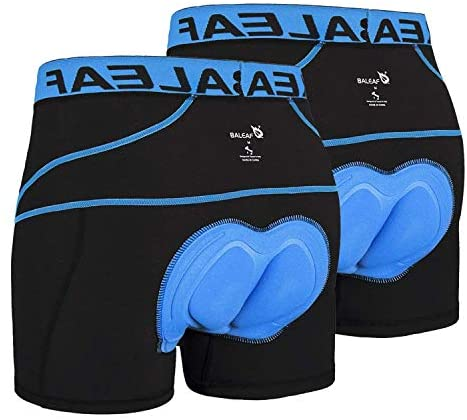 BALEAF Men s Bike Cycling Underwear Shorts 3D Padded Bicycle MTB Liner Shorts 2 Pack Blue L product image