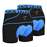 BALEAF Men's Bike Cycling Underwear Shorts 3D Padded Bicycle MTB Liner Shorts 2 Pack (Blue, L)