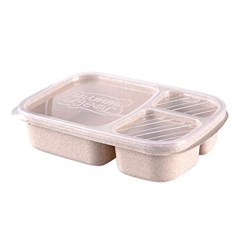 Bento Box Lunchbox Brotdose Kinder mit 3 Fächern - Kinder Lunchbox 100% Geeignet für Mikrowelle, Gefrierschrank und Geschirrspüler, Ohne BPA für Schule, Picknick, Ausflug (Beige)