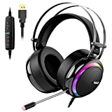 Tronsmart Glary Micro Casque Gaming, Casque de Jeu avec Virtuel 7.1 Son Surround Anti Bruit/LED Lumières/Contrôle Muet/Soft Pads PC Gamer Casque pour Nintendo Switch, Playstation 4, MacBook, iMac