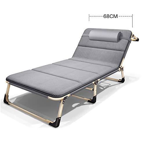 Lazy Stuhl faltbar und verstellbar, Sonnenliege Gartenbett, Liegestuhl Garten/Freizeitstuhl, geeignet für Outdoor, Hof, Strand usw, blau-grau, SHPEHP-Grey-Upgrade