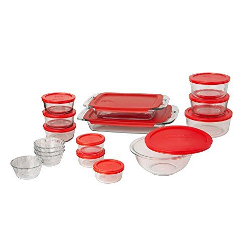 Pyrex 1122223 Bakeware Glass Food Storage Set, 28-Piece, Clear/Red