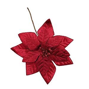 Nuxn 6pcs Glitter Poinsettia Christmas Flowers Artificial Poinsettia Stems Xmas Tree Ornaments Silk Poinsettia Picks DIY Flower Centerpiece Arrangement Props Christmas Home Wedding Decor