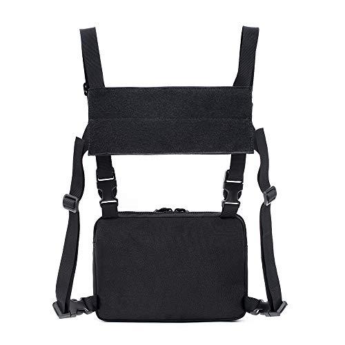 GFEU Brustgurt Tasche Vordertasche Tasche Brust Rucksack Weste Tasche für Männer Frauen Überleben Wandern Radfahren Angeln Reisen (Schwarz)