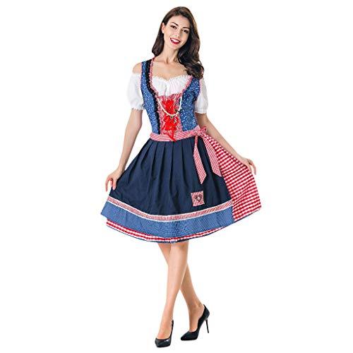 WHSHINE Damen Bayerisches Bierfest Kostüme, 5 Stück Oktoberfest Karneval Trachtenkleid Set, Vintage Gitter Print Kleid Oktoberfest Cosplay Kostüm Mini Dirndl Kleid Restaurant Arbeitskleidung