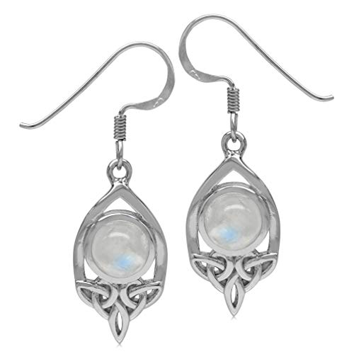 Silvershake 7mm Natural Round Shape Moonstone 925 Sterling Silver Triquetra Celtic Knot Dangle Hook Earrings
