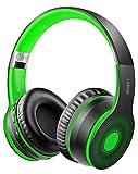LOBKIN Bluetooth Foldable Headband Microphone &Audio Cable,Hi-Fi Stereo Wireless Headset,Noice Cancelling Soft Earmuffs,TF Card MP3,FM Radios Headphones for Online Class/iPhone/iPad/PC (Green)