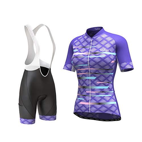 Women's Pro Series Cycling Short Sleeve Jersey, Bib Shorts, or Kit Bundle (Purple Jersey & Bib Shorts Set, Small)