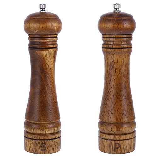 2 Stück Holz Pfeffermühle mit Verstellbarem Keramikmahlwerk, Manuelle Salzmühle Gewürzmühle Salz und Pfeffermühle