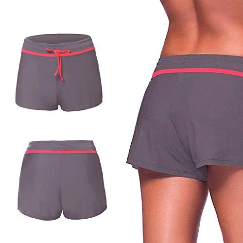 Aotlet Shorts de Baño Mujer,Secado Rápido Pantalones Cortos de Natación con Cordón Ajustables,Trajes de Baño Mujers para Deportivos Gimnasio Entrenamiento Yoga Playa,Gris-Morado, Talla M-XL