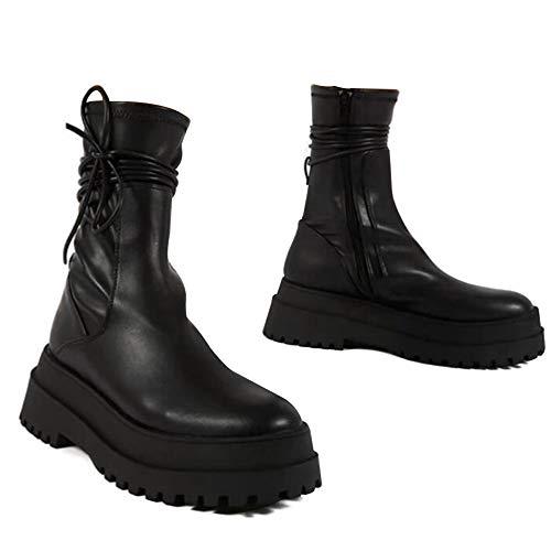 Fanshion Damen-Stiefeletten mit hohem Plateauabsatz und Keilabsatz, mit seitlichem Reißverschluss und rundem Zehenbereich, Schwarz, Schwarz (I-schwarz), 41 EU