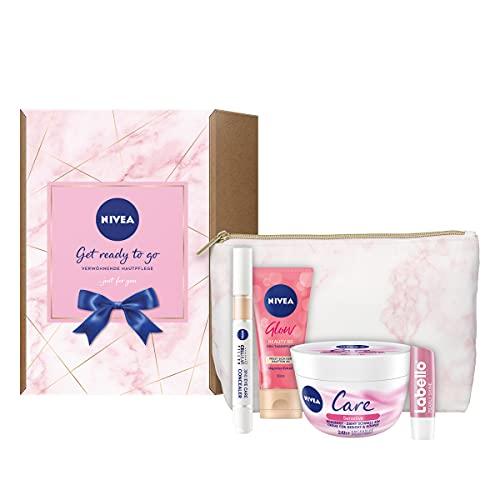 NIVEA Get ready to go Set, verwöhnendes Geschenkset mit Pink Marble Kulturtasche, Pflegeset mit Augenpflege Concealer, BB Tagespflege, Care Sensitive Creme und Labello