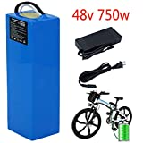 Ebike Battery 48V 10AH Electric Bike Lithium ion Battery with 54.6V 2A Charger and 25A BMS, fits 48V 750W E-Bike...