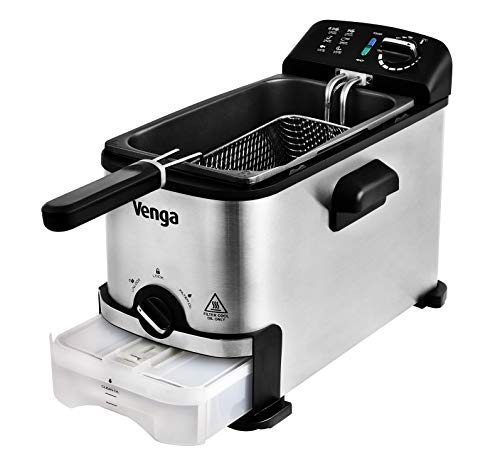 Venga! Deep Fat Fryer with Innovative Oil Filter Function, 3 Litres, 2 000 W, Stainless Steel/Black, VG FT 3012 BS