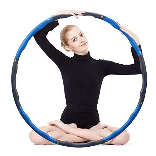 Flynsu Aro de hula hoop para adultos, 8 segmentos extraíbles, ideal para entrenamiento de fortalecimiento abdominal y musculatura de la espalda en casa o en la oficina