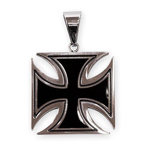 Fly Style Damen Herren Ketten-Anhänger Edelstahl Eisernes Kreuz schwarz Silber Verschiedene Größen pdst037, Grösse:30 mm