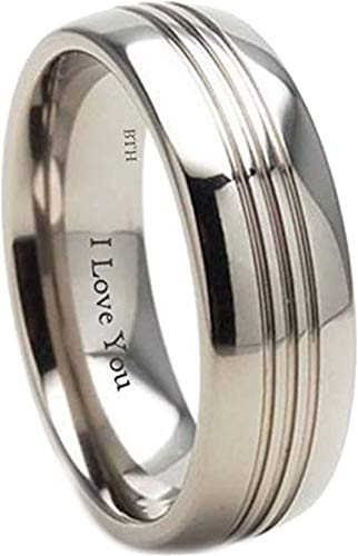 BestToHave Mens Titanium Ring - 8mm Wide - Engraved Inside with I Love You Classic Unisex Wedding Engagement Comfort Fit Jewellery Band Ring- Size U (Available in Most Sizes)