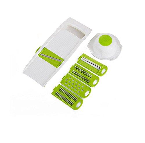 KEYNIS Mandoline Edelstahl Material Gemüse Schneidemaschine Green Cutter Slicer Gemüseschneider 5 in 1 (grün)