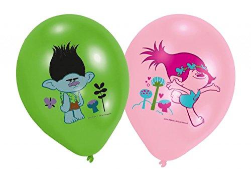 amscan - Globos de Trolls (27,5 cm, 6 unidades), color verde y rosa