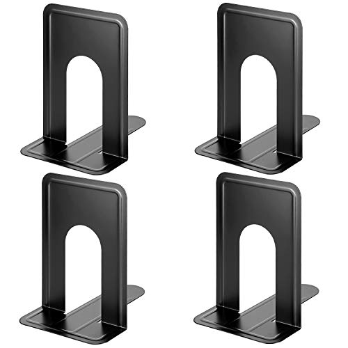 MaxGear Book Ends Universal Premium Bookends for Shelves, Non-Skid Bookend, Heavy Duty Metal Book End, Book Stopper for Books/Movies/CDs/Video Games, 8.5 x 5.9 x 7.8 in, Black (2 Pairs/4 Pieces, XL)