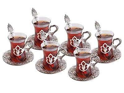 Turkish Tea Set, Glass Tea Cups Saucer Set 6, Tea Set Women Men Adults, Tea Mug, Tea Party Accessories, Glass Espresso, Turkish Tea Glasses, Afternoon Tea Lovers Teacup, Fancy Tea Service (Silver)