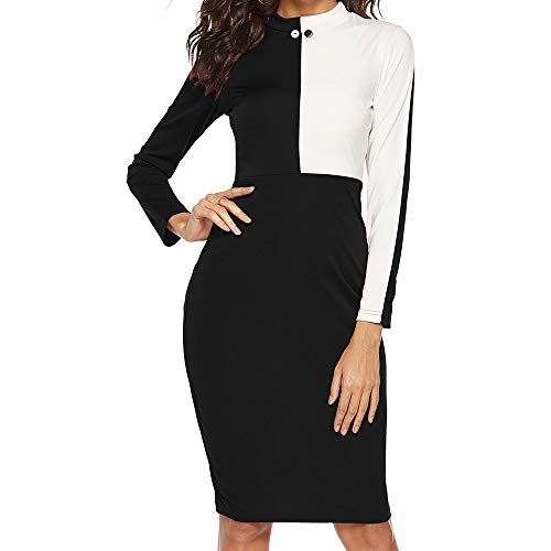 MRULIC Damen Working Dresses Pencil Gestreiftes Party-Kleid beiläufige Minikleider Slim-Fit Abendkleid Taille Gürtel(A-Schwarz,EU-42/CN-2XL)