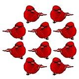 Hitrume Künstliche rote Kardinalvögel mit Clip, Ornamente, künstlicher Schaumstoff,...