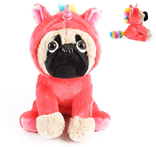 Cute Pug Stuffed Animal Pugicorn Dog Dressed as Hot Pink Unicorn ,Plush Soft Puppy Toy in Costume with Spark Horn Rainbow Mane and Tail , Great Gift for Kids ,12 Inch