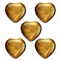 IMIKEYA 5個天然水晶石のハート形はストーンヒーリング石水族館装飾石ヨガ瞑想禅オーラクレンジング2センチメートルライトブラウン