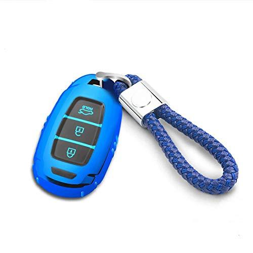 YJLOVK Nueva Cubierta de la Caja de la Llave del Control Remoto del Coche de TPU para Hyundai 2019 IX35 Santafe Encino, Azul con Llavero