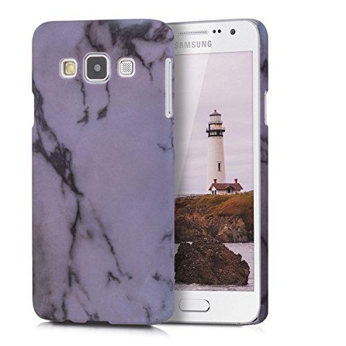 kwmobile Cover compatibile con Samsung Galaxy A3 (2015) - Custodia rigida in plastica dura - Hard Case Back Cover protettiva per smartphone - Marmo bianco/nero