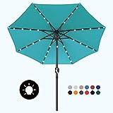 MASTERCANOPY 9ft Solar Umbrella 32 LED Lighted Patio Umbrella Table Market Umbrella with 8 Sturdy Fe-Ribs(9ft,Turquoise)